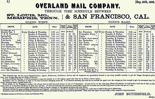 Overland Mail Company Time Schedule