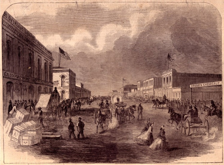 A stagecoach can be seen, left, in front of the Denver Butterfield Overland Despatch office at far left in this Harper's Weekly illustration from 1866.