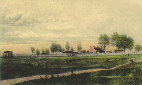 Fort Smith as it appeared in the late 1860s. The building to the left is the quartermaster's storehouse. At center is the powder magazine and to the right of it is one of the barracks.