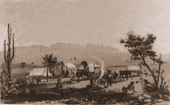 A wagon encampment at Maricopa Wells, circa 1857.