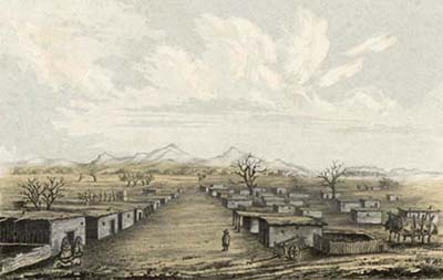 The one-story adobes of Mesilla, not long after the Gadsden Purchase, with the Organ Mountains on the horizon, circa 1854.